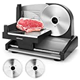 """Meat Slicer, 7.5"""" Electric Deli Food Slicer with 2 Removable Stainless Steel Blades, Adjustable Thickness Meat Slicer for Home Use, Cuts Frozen Meat, Cheese, Bread, Vegetables, Easy to Clean, Black"""