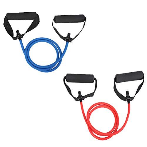 LIOOBO 2pcs Clispeed Yoga Elástico Ejercicio físico Cuerda de tracción Ejercicio Bandas de Resistencia Bandas de Entrenamiento con Mango (5x9 Azul, 6x10 Rojo)