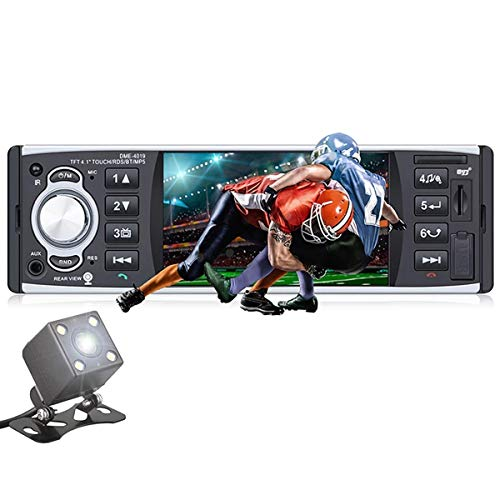 Radio del Coche 12V MP4 Reproductor Estéreo 4.1' Pantalla Táctil HD Estéreo, Soporte Mirror Link/RDS/FM/Bluetooth/USB/SD/AUX-in, con Control Remoto/Cámara de visión Trasera DME4019