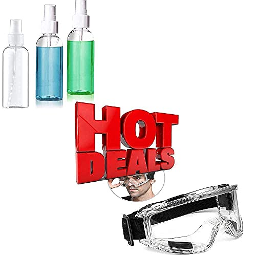 3 Pack 50ml Spray Bottles Plastic + Protective Safety Goggles Clear