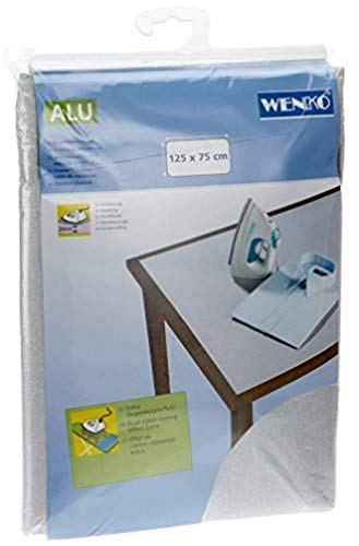 WENKO Telo stiro da tavolo Alu - extra lungo, Cotone, 75 x 125 cm, Argento
