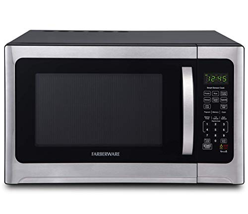 Farberware Professional FMO12AHTBKE 1.2 Cu. Ft. 1100-Watt Microwave Oven With Smart Sensor Cooking and LED Lighting, Brushed Stainless Steel (Renewed)