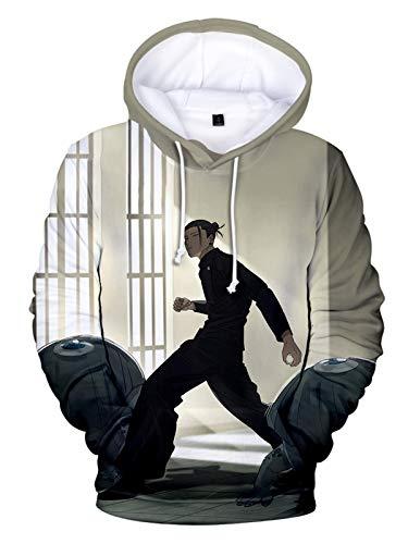 NooobTerrm Unisex japanische Anime Jujutsu Kaisen Hoodies 3D-Druck Hooded Pullover Kostüm(Fenster,S/M)