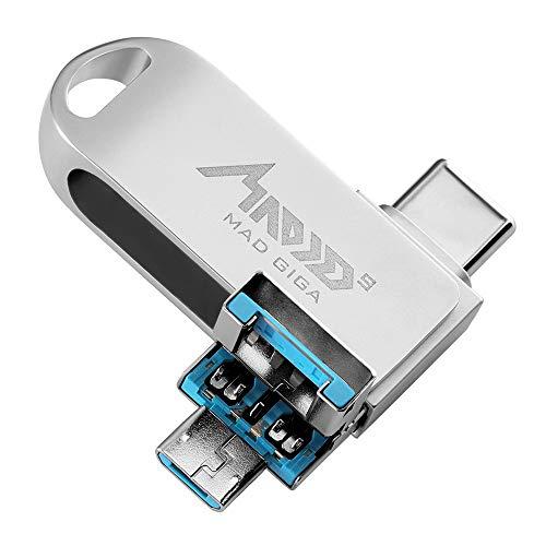 MAD GIGA USB Stick 32 GB, 3 in 1 Flash Drive (Type-C 3.0, USB 3.0 e Micro USB 2.0) , Innovativo Chip, Compatibile con Android, Windows, Argento
