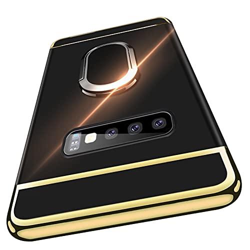 Duluqboba Galaxy S10 Plus ケース リング付き 3パーツ式カバー 耐衝撃 スタンド機能 指紋防止 薄型 サムスン ギャラクシーS10 Plusケース 車載ホルダー対応 高級感 メッキ加工 一体型 携帯カバー 黒 AYS-11-4