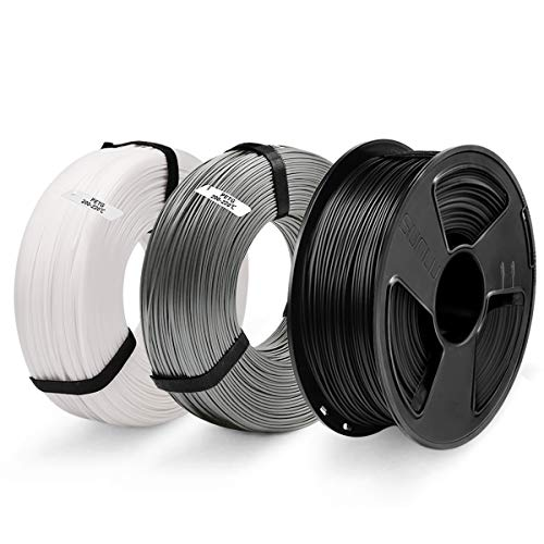 3D Printer PETG Filament 1.75, SUNLU 3 Colors PETG 1.75mm of MasterSpool, Fit FDM 3D Printer, 1KG Spool, Pack of 3, Dimensional Accuracy +/- 0.02 mm, PETG Black+White+Grey