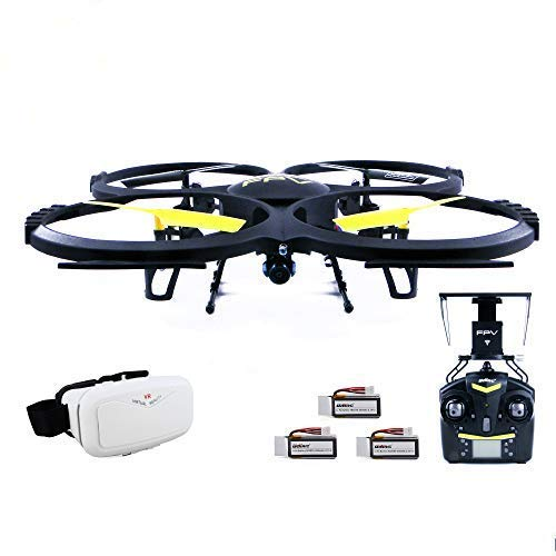 efaso Drohne Quadcopter U818A WiFi 2.0 MP FPV mit 3D VR Virtual Reality Brille + 2 x Zusatzakku