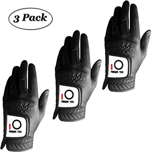 Finger Zehn 2017 Herren Regen Grip Trockner Golf Handschuhe Value 3Pack Deals alle weiß schwarz Linke Hand LH robustem Sommer Klettverschluss, schwarz
