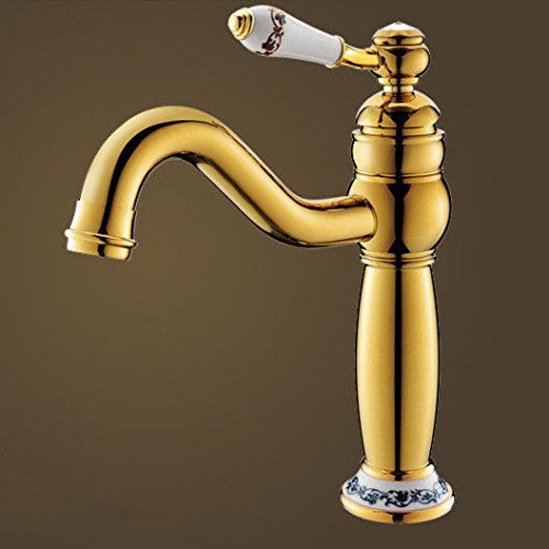QIMEIM Bad Wasserhahn Waschtischarmatur Messing verGoldet Schwenken Warmes und kaltes Wasser Waschbecken Mischbatterie Badarmatur