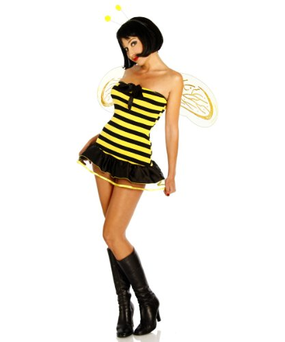 Süsses Bienen-Kostüm Kleid gelb/schwarz Karneval Clubbesuch Mottoparty , Größe:3XL