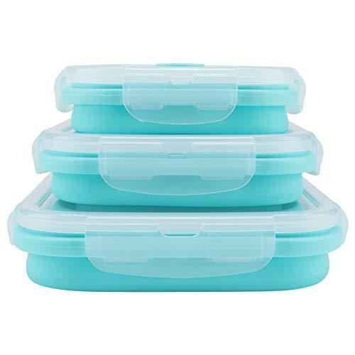 Uxsiya Contenedor de alimentos, refrigeradores Bento lonchera de silicona para niños adultos para viajes al aire libre picnic (verde menta)