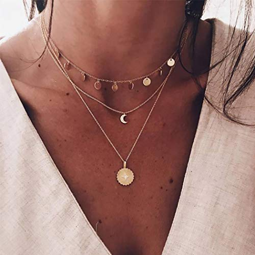 Zoestar Collar con colgante de luna en capas de estilo bohemio, collar con cadena de lentejuelas, joyería para mujeres y niñas