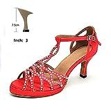 HOAPL Brillar Salsa Roja Rhinestone Latin Zapatos de Baile Profesión Danza Zapatos de Baile para Mujeres Talón 10/9/8.5/7.5/7/6 cm,7.5 cm,7