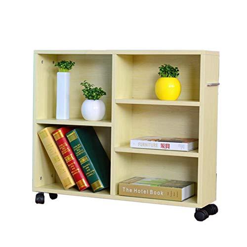 JCNFA Planken Boekenkast Mobiele Met Wielen Lockers Moderne Industriële Boekenkast Display Plank Opslag Organizer,4 Kleuren 27.55 * 9.44 * 25.59in Wit esdoorn