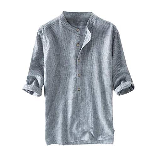 Leinen-Shirt Sommer Hemd Übergröße Herren Leinenhemd Herren Einfarbig Freizeithemd Henley Shirt Leichte Atmungsaktives Sommerhemden