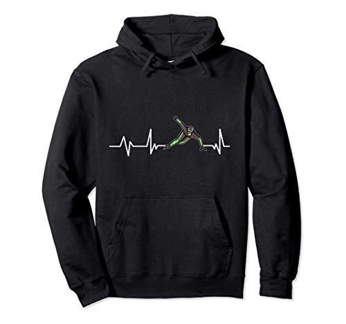 Schlittschuh Herzschlag Eisschnellläufer Eisschnelllauf Pullover Hoodie