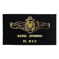名入れ 米軍グッズ レザーネームタグ アメリカ海軍 作戦情報隊 幹部用 イタリアンレザー ブラック 2段