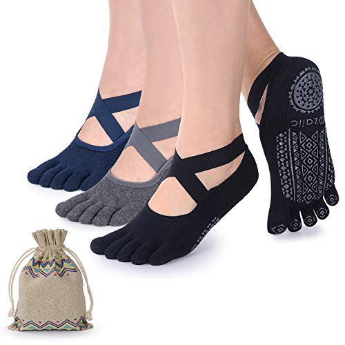 Ozaiic Yoga Socks for Women with Grips, Non-Slip Five Toe Socks for...
