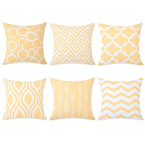 Topfinel 6er Set Kissenbezüge 50x50 cm Qualitäts Kissenhüllen in Segeltuch mit Geometrischen Mustern für Sofa Auto Terrasse Zierkissenbezüge Serie Gelb und Weiß