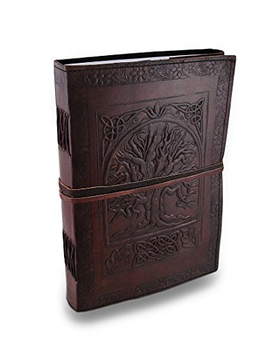 Jaald 26 cm Bloc-notes Carnet Cahier Feuilles Leather journal Intime avec Couverture en Cuir Fait à la Main Signet Sangle arbre de la vie Celtique Vintage Grimoire Book of Shadows Tree of life