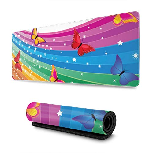 YGVDSE Gaming Mouse Pad Rainbow and Butterflies 30 X 80 cm Mouse Mat Gaming Non Slip Rubber Base