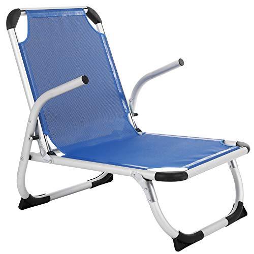 SONGMICS strandstoel, vouwstoel, aluminium, draagbare campingstoel, opvouwbaar, licht en comfortabel, ademende synthetische vezelstof, zeer veerkrachtig, buitenstoel, blauw GCB64BU