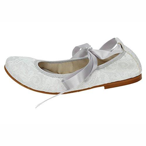 MADE IN SPAIN 4816 MANOLETINA DE Encaje NIÑA Zapato COMUNIÓN Plata 36