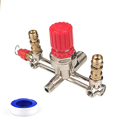 Replacement Valve Regulator Adjustable Pressure For Air Compressor Pressure Switch Durable Double Outlet Tube,Regulator Valve Spare Part for Air Compressor Pressure Switch