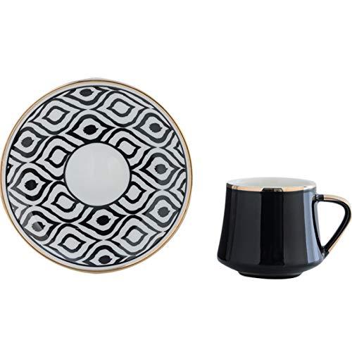 Juego de Taza Y Plato de té Taza de café de cerámica turca y platillo de té de la Tarde Adorne La Decoración Fina de Comedor Y Mesa (Color : Black, Size : One Size)