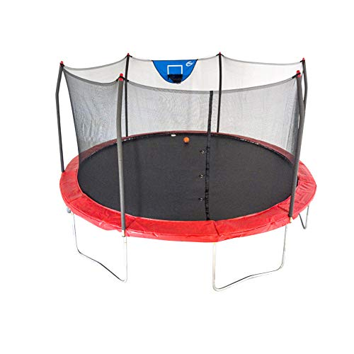 Skywalker Trampolines 15-Foot Jump N' Dunk Round Trampoline with Enclosure Net - Basketball Trampoline, Red