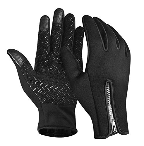 Winter Gloves Men Women Adjustable Size Non-Slip Touch Screen Waterproof Gloves for Cycling Driving Running Hiking Outdoor Activities in Cold Weather-Black XL