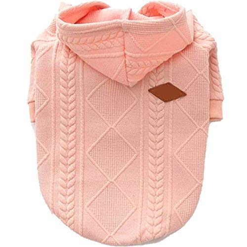 XiangYue SISAVE Dog Sweater,Pet Zipper Hooded Warm Clothes Puppy French Bulldog Pug Warm Hooded Outwear (Small, Pink)