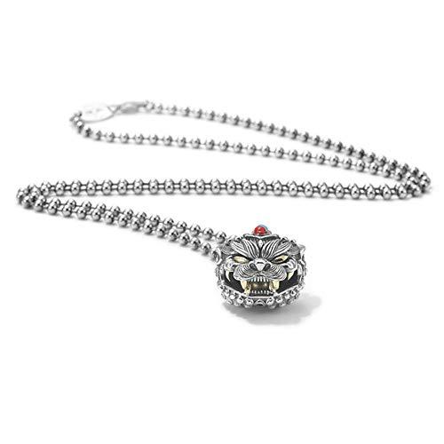 Fxwj Schmuck Halsketten Silberkette 925 mit Wild Tiger Gravur Ketten-Anhänger Solitär Perlen Stacking Kette Geschenke,A