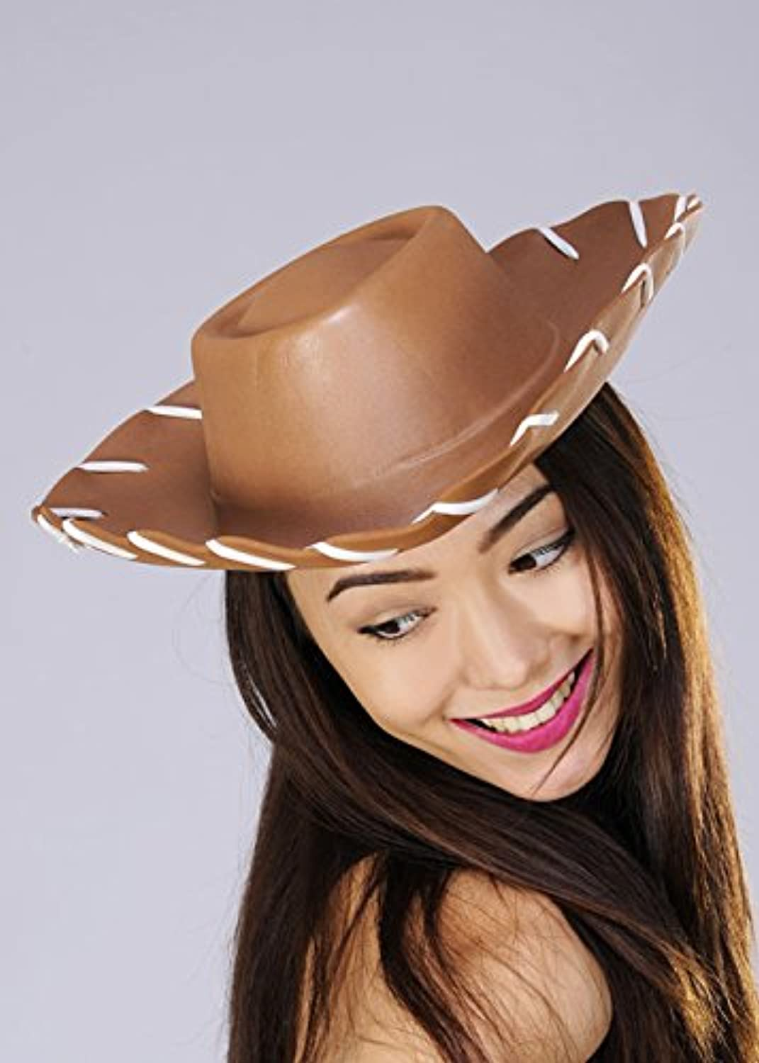 Magicscatola Marronee Woody Style Cowboy Hat with bianca Stitch Detail