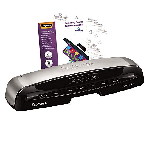 Fellowes Saturn 3i A3 Small Office Laminator, 80-125 Micron, Rapid 1 Minute Warm Up Time, Including 10 Free Pouches