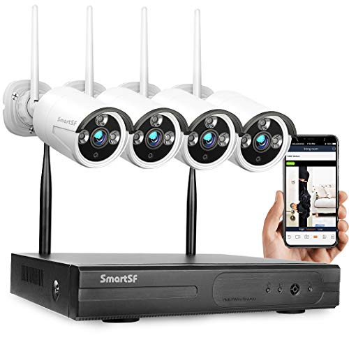 SmartSF Security Camera System Wireless 8CH 1080P NVR HD WiFi Kit CCTV Surveillance Systems,(4)2.0MP Outdoor/Indoor Weatherproof Bullet IP Cameras,65ft Night Vision, P2P,Motion Detection,No Hard drive