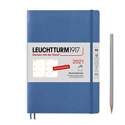 LEUCHTTURM1917 362023 Denim, Wochenkalender, Softcover, Medium (A5) 2021, Deutsch