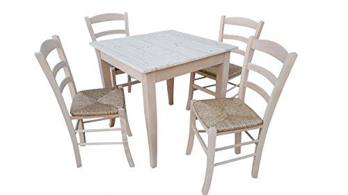 TAVOLO CON 4 SEDIE in legno massello grezzo da verniciare (tavolo cm 80x80) con piedi a sciabola in legno massello e piano in pino