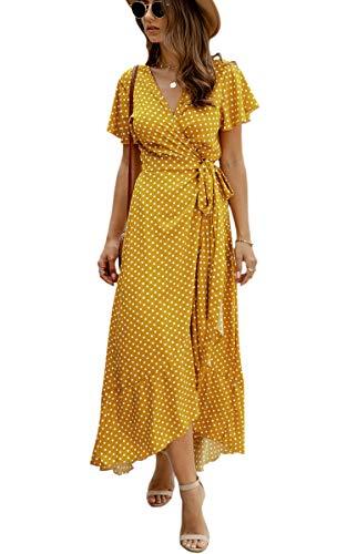 Spec4Y Damen Boho Lange Kleider V-Ausschnitt Sommerkleider Kurzarm Wickelkleid Maxikleid Strandkleid mit Schlitz 032Gelb L