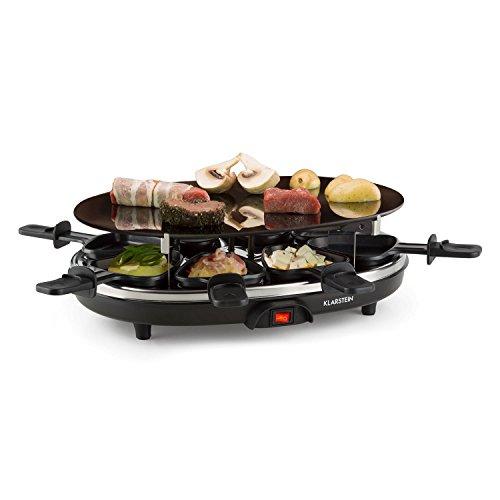 Klarstein Blackjack Raclette Grill - Tischgrill, Partygrill, 900W, Glaskeramik-Grillfläche, schnelle Hitzeverteilung, 8 Raclette-Pfännchen, Antihaftbeschichtung, einfache Reinigung, schwarz