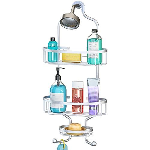 Shower Caddy Hanging over head 3-Tier Bathroom Shower Organizer Aluminum Storage Rack Shelf Shampoo Holder 2-Hooks for Towel Soap Conditioner