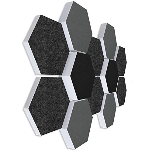 Schallabsorber 3D-Set aus Basotect G+ ® < 12 Elemente Ø30cm Wabe > Qualitäts Akustik Elemente/Oberseite GRAU + SCHWARZ (#01)