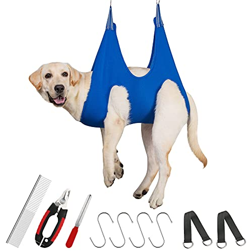 Guzekier Pet Grooming Hammock Sling Harness for Medium Dog Large Puppy, Dog Holder for Grooming, Pet Supplies Kit, Pet Grooming arm Helper with Nail Clippers/Trimmer, Pet Comb, Nail File, Ear/Eye Care
