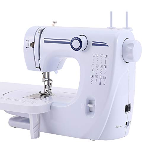 CBPE Sewing Machine with 12 Kinds of Built-in Stitches,Easy Stitch Selection - Perfect for Beginners, with Extended Table Dual Speed Double Thread,Foot Pedal,Needle Protector for Beginner