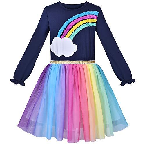 Vestido para niña Arco Iris Vistoso Tul Falda Manga Larga Fiesta Fiesta 6 años