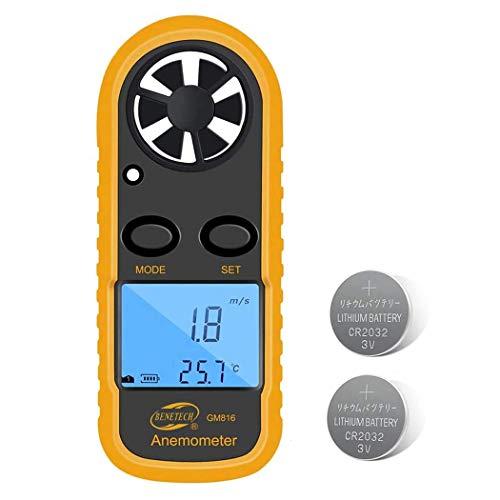 Benetech Anemometer Digital LCD Handheld Airflow Windmeter Thermometer Wind-Speed Gauge Meter, 2-Year Warranty