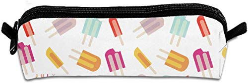 zhengchunleiX Pencil Case Ice Cream White Zippered Pen Bag Cosmetic Makeup Bags for Colored Watercolor Pencils