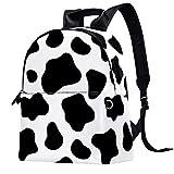 Mochila de piel para la escuela, universidad, viajes, oficina, portátil, para mujer y hombre, con estampado de vaca, color negro y blanco