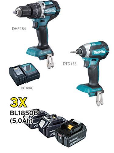 Makita Schlagbohrmaschine DHP484 + Schlagschrauber Dtd153 mit 3 Akkus 18 V 5 Ah DLX2180TJ, blau, silber