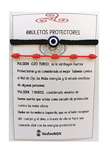 SabelAX Pulsera Roja 7 Nudos y Pulsera Ojo Turco, Hilo Rojo, Amuleto Buena Suerte, Proteccion Mal de Ojo, Para Mujer, Hombre y para Parejas, Pulsera Kabbalah, 2 piezas. (pulsera ojo turco negra)